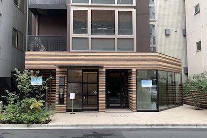 ⑭ 茶色のビルに秋葉原店があります、インターホンで201をお呼び出しください